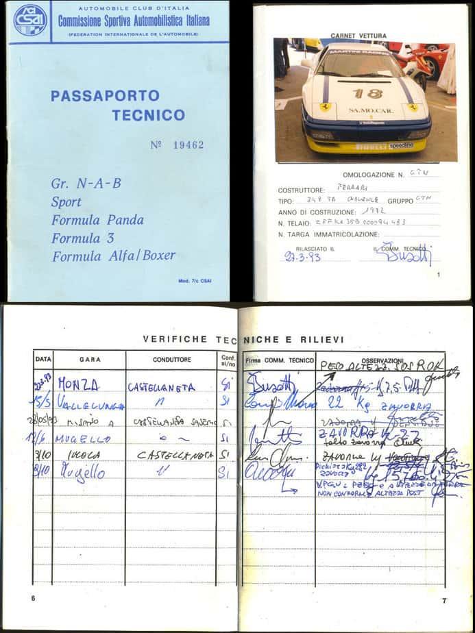 Ferrari 348 Challenge passaporto tecnico