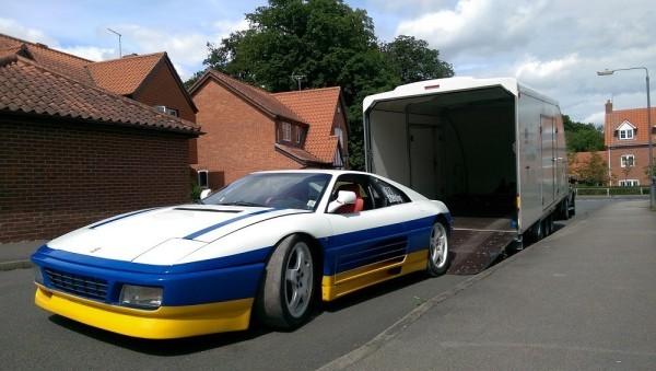 Ferrari 348 Challenge unloaded from transporter